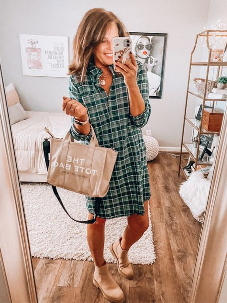 Plaid shirt dress from Amazon, fits tts, wearing a large. Sam Edelman Chelsea lug boots and The Tote Bag by Marc Jacobs   Fall outfits, Amazon fashion, Amazon finds, taupe combat boots, combat boots, totes, lug boots, affordable outfit, sale  #LTKsalealert #LTKunder50 #LTKstyletip