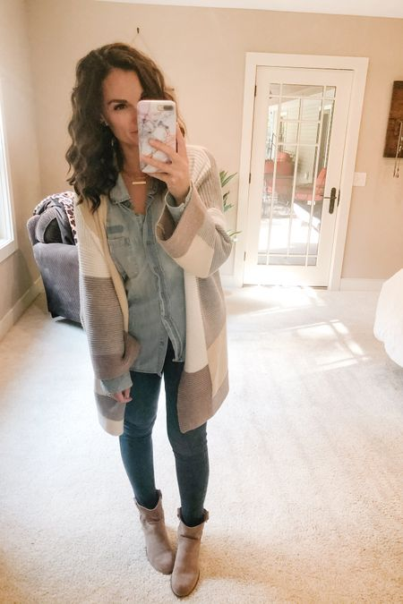 """Happy Saturday! We've got a soccer game and then we're headed to the orchard! I'm sure the rest of Michigan is too! 🍁  What do you know I'm in denim on denim which is 100% neutral!! I absolutely love this color block cardigan with all of its """"neutralness"""" too!!! Oh and a super soft tan bootie to finish off the look!   http://liketk.it/2Yp0z #liketkit @liketoknow.it"""