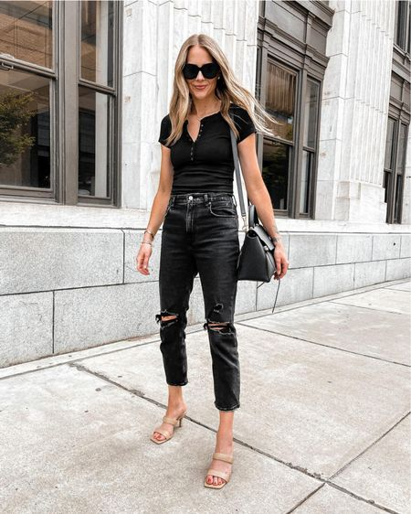 These black ripped jeans and Henley bodysuit are SO comfortable and both under $100 from Abercrombie. Perfect summer date night look   http://liketk.it/3kO44 #liketkit @liketoknow.it   #LTKunder100 #LTKstyletip #LTKunder50