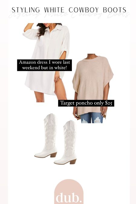 How to style white cowboy boots! Love the layered look with a shirt dress.