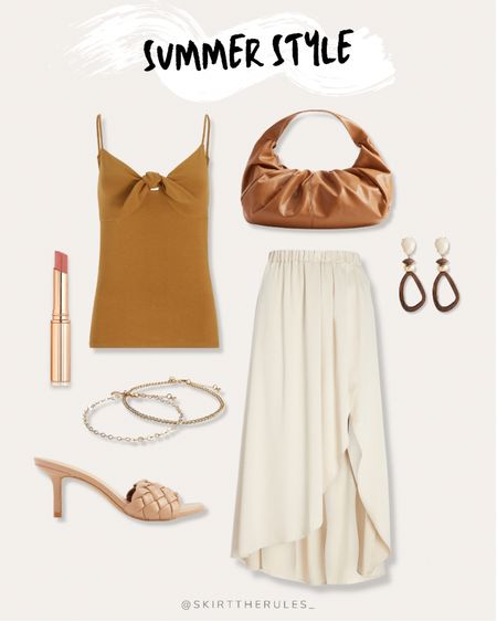 Express, summer outfit, beach vacation, summer style, summer outfit, date night outfit: mustard cami, yellow cami, bow cami, brown baguette bag, brown faux leather handbag, wooden earrings, teardrop earrings, cream midi skirt, pink lipstick, gold anklets, nude braided mules, nude braided heels. @liketoknow.it http://liketk.it/3gndy #liketkit #LTKunder50 #LTKunder100 #LTKstyletip