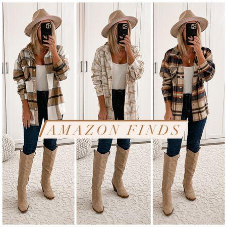 Amazon fall finds Plaid shacket shirt jacket  Wearing size small Levi's jeans size 25 short Tan hiking boots size 7 Fedora hat   #fall #amazon #laurabeverlin  #LTKunder50 #LTKshoecrush #LTKsalealert