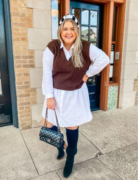 Plus size fall neutral outfit. Knee high black boots. Shirt dress. Sweater vest. Headband.   #LTKunder100 #LTKSeasonal #LTKcurves