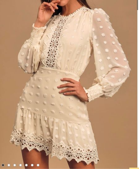 Embroidered lace long sleeve dress   #LTKstyletip #LTKunder100 #LTKSeasonal