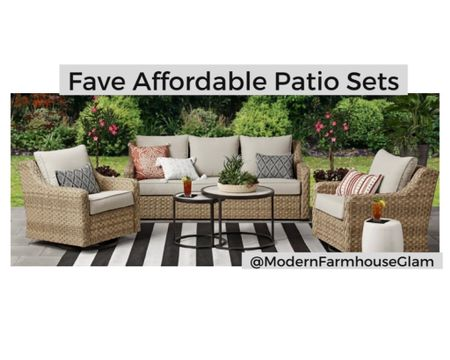 Glam Girl's favorite affordable outdoor patio sets.   Patio furniture, outdoor chairs, wicker, outdoor dining, backyard, courtyard, summer, spring, Mother's Day, Father's Day, graduation party, Walmart home, home decor, modernFarmhouseGlam  http://liketk.it/3fC2Q #liketkit @liketoknow.it #LTKhome #LTKsalealert @liketoknow.it.home You can instantly shop my looks by following me on the LIKEtoKNOW.it shopping app