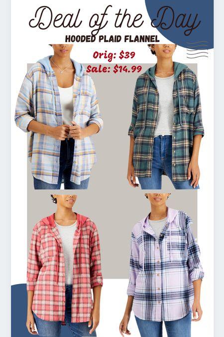Deal of the day $14.99 hooded plaid flannel shacket Hoodie  #ltkfall #ltkunder15    #LTKSeasonal #LTKunder50 #LTKsalealert