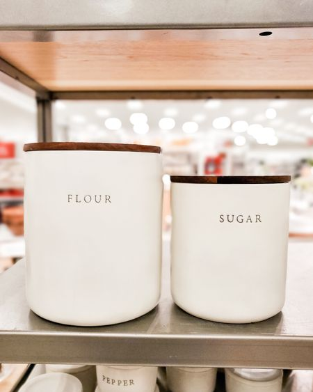 """Target home finds, white ceramic canisters with simple """"flour"""" and """"sugar"""" label by Hearth and Hand by Magnolia for Target. Wooden lids, target finds, targetfavefinds  #ltkhome #ltkunder50"""