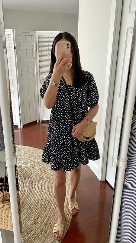 July 27, 2021 - Sharing a few new Ann Taylor and LOFT reviews on the blog. This polka dot dress is my usual size XS petite. https://www.whatjesswore.com/2021/07/recent-purchases-reviews-loft-ann-taylor-amazon.html  #LTKunder100 #LTKshoecrush #LTKsalealert