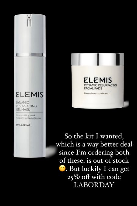 Love this gel mask from @elemis! Going to order the full size bottle since it's 25% off with code LABORDAY. Also going to try these resurfacing pads.   #LTKbeauty #LTKsalealert