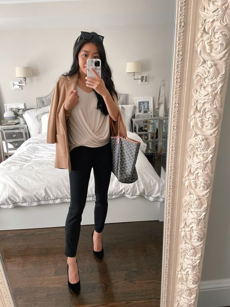 business casual office style // summer to fall workwear   •Express cross front tee xxs in color 'sorbet' •Express knit ankle pants xxs petite •J.Crew knit Sophie blazer xxxs. Also linked similar from their factory line! •black suede pumps 5.5 (linked similar - my favorite Azra ones from AT) •Amazon sunglasses    http://liketk.it/3kN1i #liketkit @liketoknow.it   #LTKworkwear #LTKsalealert