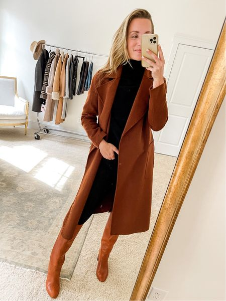 My wool wrap coat from the #nsale is even further reduced than it was this summer! It is a tad on the itchy side due to the wool, but with layers underneath it's not bothersome. The rust color is beautiful and the drape and fit are great.  Exact sweater and boots linked, similar Madewell jeans linked.
