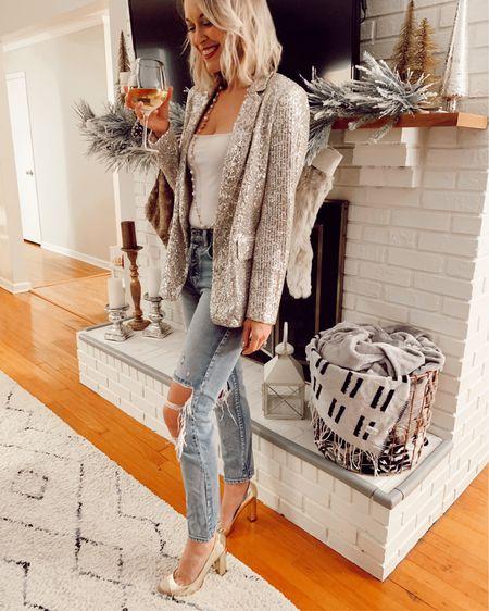 Sequin blazer 40% off  Ripped jeans Holiday outfits Sequins New Year's Eve   http://liketk.it/2HT71 @liketoknow.it #liketkit #LTKholidaystyle #LTKsalealert #LTKstyletip
