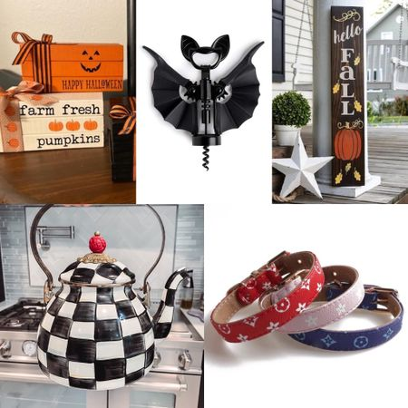 Last week's most loved in home and pets; some cute fall decor including tiered tray signs, a porch sign, and bat wine opener, plus our Mackenzie and Childs teapot and some designer inspired dog collars.   #LTKunder50 #LTKhome #LTKSeasonal