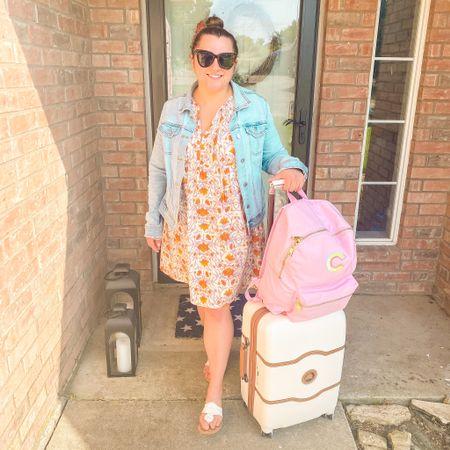 Travel outfit airport outfit target dress jean jacket summer dress Delsey luggage Stoney clover lane Jack Rogers   #LTKunder50 #LTKSeasonal #LTKtravel