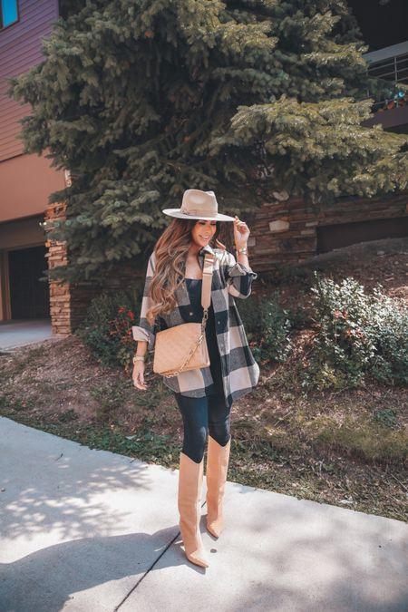 Fall Outfit, Shacket, Good American Jeans, Black Jeans, Black Bodysuit, Black Bodysuit, Fall Hat, Nude Handbag, Tan Boots, Fall Boots, Emily Ann Gemma, Fall Fashion, http://liketk.it/3nrGv #ad @nordstrom      #LTKstyletip