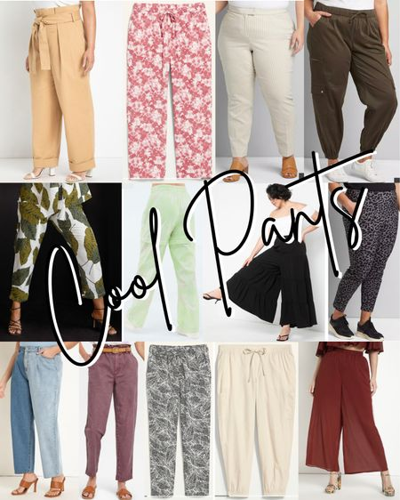 """I'll admit, I felt a little lost when the request for """"cool pants"""" was the first one to show up in my question box, but here I've compiled some cool pants to take you from work tk cocktails to the bike trail… or your couch. 😉  #LTKcurves #LTKstyletip #LTKworkwear"""
