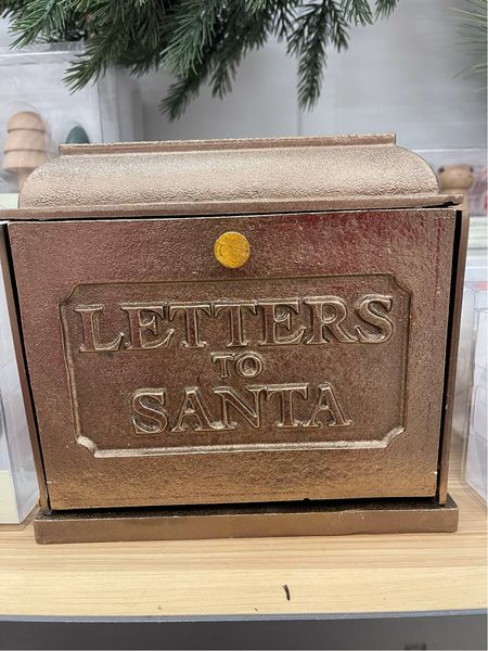 Letters to Santa vintage  mailbox holder from hearth and Hand can be used as table decor or hung on wall this holiday season #christmasdecor   #LTKhome #LTKHoliday