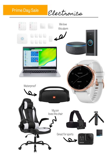 Amazon prime day electronics. Laptop. Amazon. Alexa. Google. Ring doorbell. Go pro. Waterproof speaker.  #LTKSeasonal #LTKsalealert #LTKhome