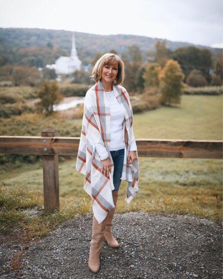 Wore this beautiful plaid wrap to explore Vermont! The quality is excellent and the price is low! Hurry before this wrap sells out!   #LTKunder50 #LTKSeasonal #LTKtravel
