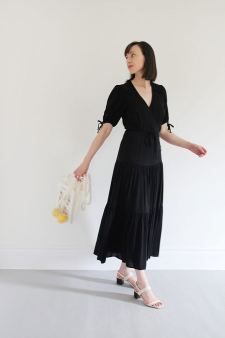 Style Theme - Dresses - Look 5  Dress by Christy Dawn. Black not currently available but I found some similar options for less.   Sandals are old from Everlane.