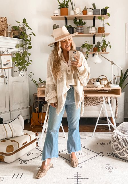 Fall weather can't come soon enough!!  Oversized sweater + crop flared jeans~ jeans are on sale for only $39.50 with code SOGOOD. I'm wearing size 29 curvy petite + size small in sweater.  #loft #loftsale #loftjeans #freepeople #nsale #nordstrom   #LTKunder100 #LTKsalealert #LTKstyletip
