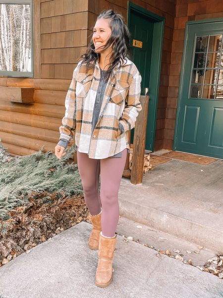 Amazon fashion shacket (medium) Amazon finds leggings (small) Old navy style henley (small) Fall outfits, fall fashion Ugg boots   #LTKSeasonal #LTKshoecrush #LTKunder50