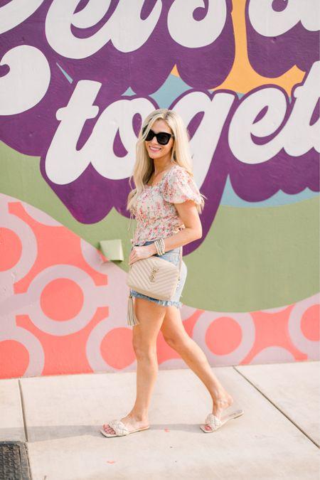 Agolde shorts Floral top Sunglasses  Fall style   #LTKtravel #LTKSeasonal #LTKstyletip