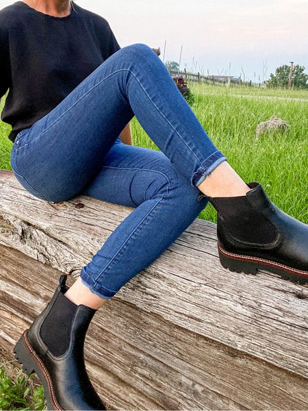 I love these Chelsea boots. The leather quality is perfect ! Skinny jeans under $45 and boots under $65 as part of NSale Nordstrom  Dark wash denim Calson Boot sale  #LTKunder50 #LTKshoecrush #LTKsalealert