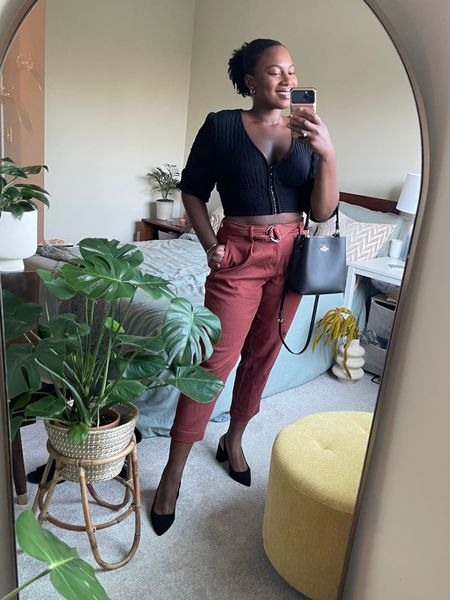 Fall transition, work outfit, and casual date outfit. Sling back pumps are so cute with these target tapered ankle pants   #LTKworkwear #LTKSeasonal #LTKcurves