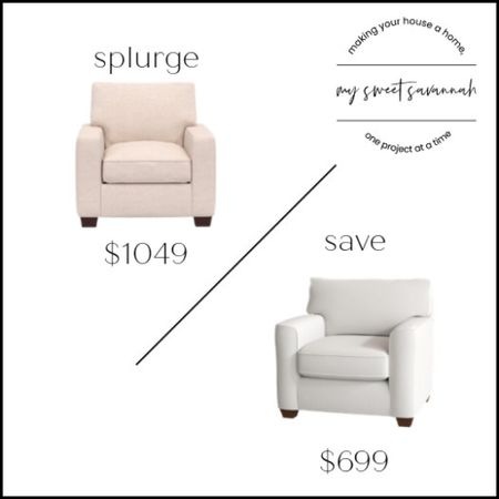 Pottery barn upholstered armchair or this beautiful one from Wayfair for way less? Splurge or save?   #LTKhome #LTKsalealert #LTKstyletip