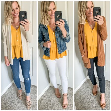 Yellow peplum shirt styled 3 ways for fall.   #LTKstyletip #LTKunder50 #LTKunder100