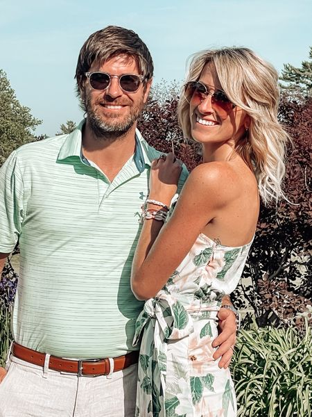 """I like long, romantic rides in the golf cart ⛳️  Golf tournament season is upon us, and the first one was really up to par. I mean, it was tee-rific! 😏  Also! Dave 100% matched his shirt to my dress. I gotta know: do you and your husband/partner/person partake in """"couple dressing""""??    http://liketk.it/3hcg1 #liketkit @liketoknow.it #LTKstyletip"""