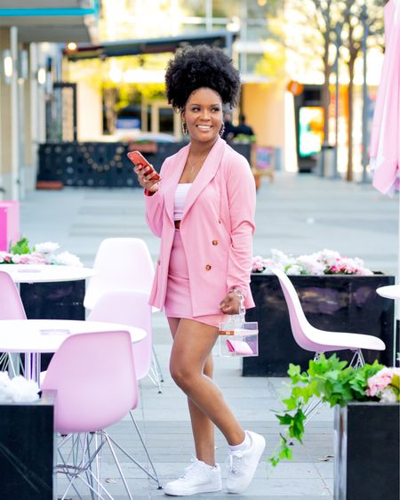 Cute baby pink skirt suit set. It's giving casual  when paired with the all white Airforce 1  #LTKstyletip #LTKworkwear