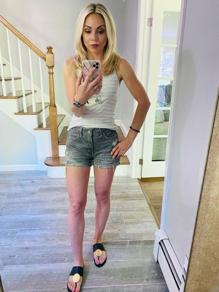 Ready for that weekend bbq?! Causal and chic. Perfect length shorts, too. Summer hair with easy to use tools.    Old navy shorts Jean shorts Father's Day outfit  Causal summer outfit Target style  Backyard bbq Looks for less Beach vacation     #LTKsalealert #LTKSeasonal #LTKunder50