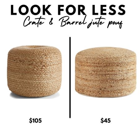 Crate & Barrel Alvaro braided jute pouf, ottoman, stool, Walmart Home   #LTKhome #LTKunder50