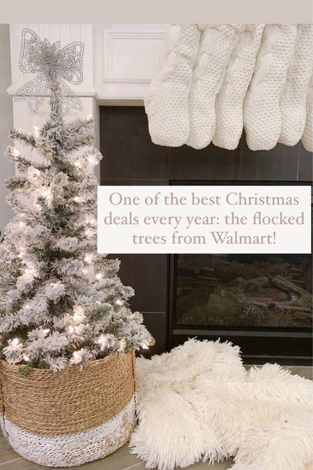 One of the BEST Christmas decor deals every year: the flocked Christmas trees from Walmart!! $27 for 4ft pre-lit flocked tree! Such a great deal. They sell out FAST so get yours quick!  . . .  http://liketk.it/31r8I #liketkit @liketoknow.it @liketoknow.it.home #LTKhome #LTKsalealert #LTKunder50 holiday decor, Christmas decor, Christmas tree, Christmas decorating, flocked tree, Christmas sales, Walmart decor, holiday decorating