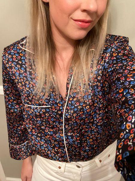 Date night look  White denim, white jeans, ditsy floral, pajama blouse   #LTKunder100 #LTKstyletip #LTKsalealert