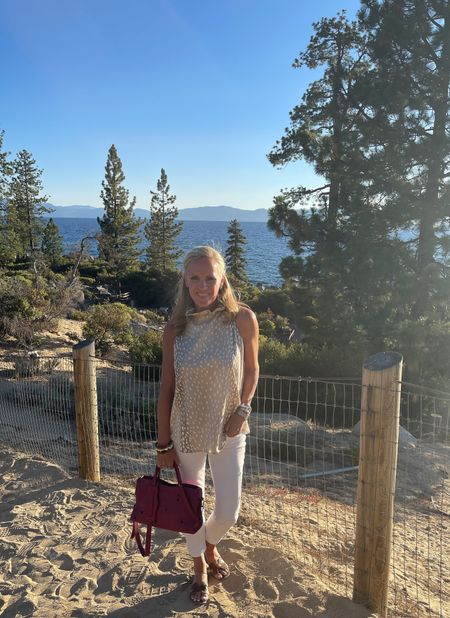 Lake Tahoe Shakespeare Festival in this darling Antelope print top from Tuckernuck paired with my favorite white denim and pop of with my Balenciaga City Bag     #LTKitbag #LTKstyletip #LTKtravel