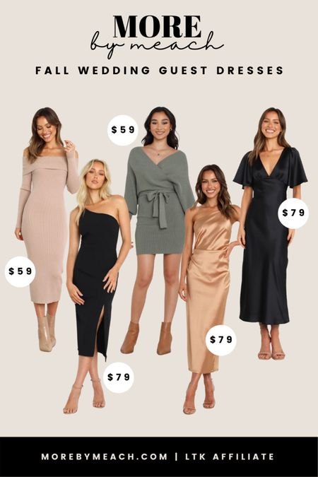 Some affordable fall wedding guest dresses I'm loving right now! These are great capsule wardrobe finds, too, as they're as classic as they are beautiful. 🤍 Click to shop!   #LTKunder100 #LTKwedding #LTKSeasonal
