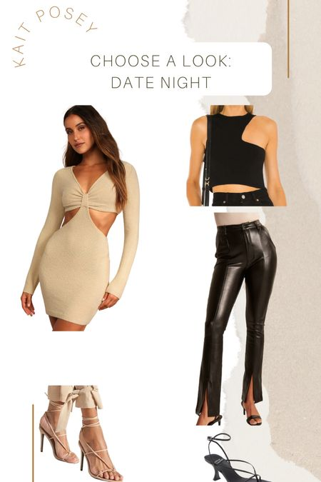 Date night outfit / girls night out outfit  Vegan leather pants  Lulus cut out dress Forever21 shoes