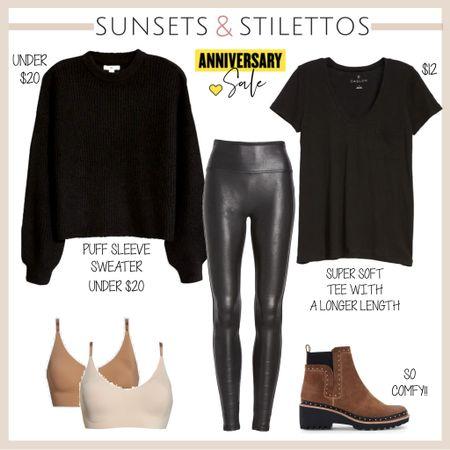 All black outfit with faux leather leggings   #LTKunder100 #LTKsalealert #LTKunder50