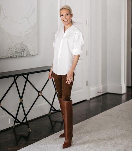 Brown boots / white button down / Ralph Lauren