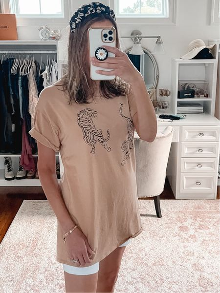 White biker shorts outfit, oversized tee, t shirt dress, graphic tee, mirror selfie, casual outfit, summer outfit,  #LTKunder100 #LTKunder50 #LTKstyletip