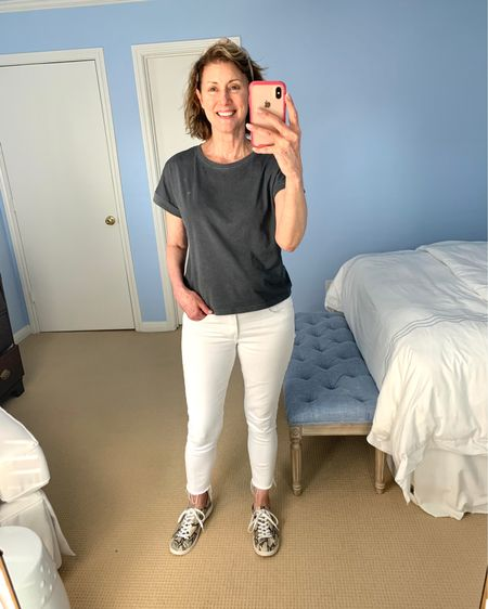 Happy Monday!! It's a no make up day because I had a facial with Sarah at Bella MD!! Such a treat. I also decided to take the plunge and buy Revitalash. I've been wanting to try it forever!! Has anyone used it?? What did you think?? I'm a big fan of @gap and love these cropped jeans and tee shirt. I bought the top in 3 colors!!  http://liketk.it/3dUY9 #liketkit @liketoknow.it #LTKbeauty #LTKstyletip #LTKunder50 You can instantly shop my looks by following me on the LIKEtoKNOW.it shopping app #whitejeans #teeshirt #sneakers #lashes
