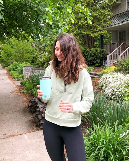 I love that I can wear this zip up sweatshirt with leggings, jeans, shorts, & even over a dress! It's made of organic cotton, #sustainablestyle, &  comes in 3 other colors. Also, I wear these leggings on repeat season after season & highly recommend them! I wear my regular size.  http://liketk.it/3eXg9 #liketkit @liketoknow.it #LTKunder100 #LTKstyletip #LTKfit #LTKsustainablestyle #LTKseasonal #loungewear #momstyle