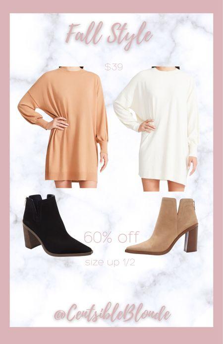 Sweater dress with split sides Vince camuto ankle boots Ankle booties  Short girl sweater dress Petite sweater dress   #LTKunder100 #LTKSeasonal #LTKstyletip