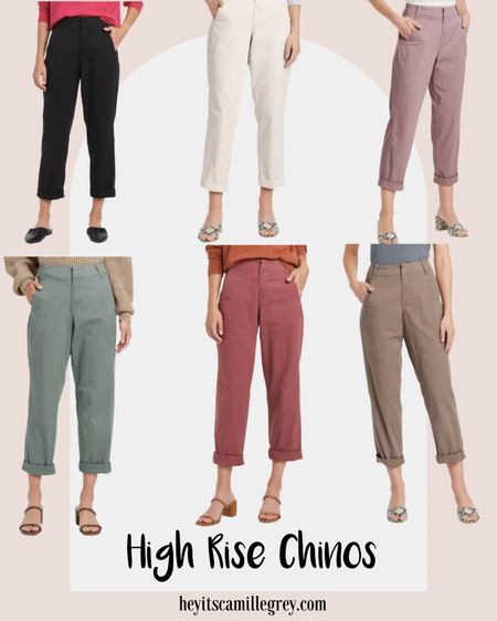 Target High Rise Chinos - straight leg and hits at the ankle. Comes in six colors: black, cream, mauve, green, rosey pink and light brown. These would be so cute with ankle booties and a tucked in sweater for fall! Under $25   #LTKunder50 #LTKunder100 #LTKstyletip