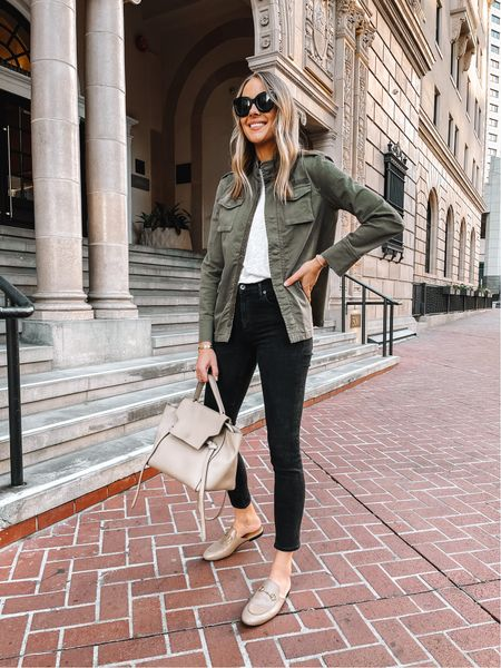 Obsessed with my green utility jacket from the fall capsule wardrobe (wearing XS) such a great fall staple #falloutfit  #LTKstyletip #LTKunder100 #LTKunder50