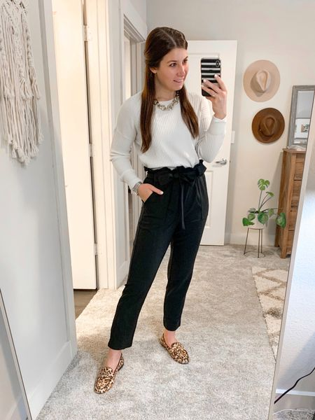 Today's working from home outfit of the day. All pieces under $50! I just recently bought these black paperbag pants & they're such a good Amazon find! This is a comfortable, affordable look for the office or at home.  #LTKunder50 #LTKworkwear #LTKshoecrush