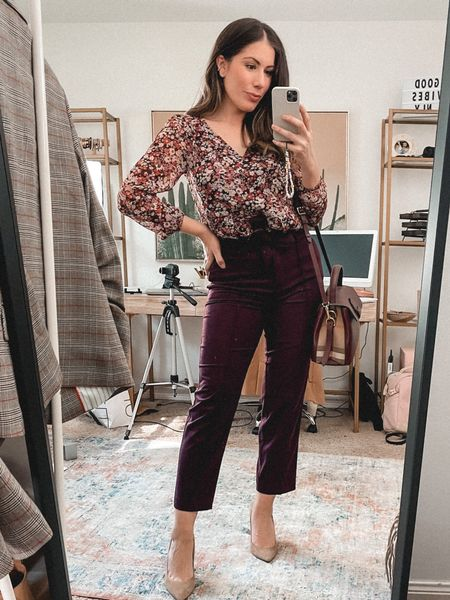 Loft 50% off sale instore and online!!  Today is the last day!  These belted burgundy trousers are gorgeous!! Perfect for fall because they are a bit thicker    #LTKsalealert #LTKstyletip #LTKworkwear